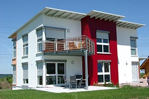 Musterhaus mit Photovoltaik auf Pultdach mit Ausrichtung nach Norden
